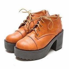 Mancienne - Platform Lace-Up Ankle Boots