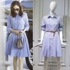 JOYIST - A-Line Striped Collared Dress