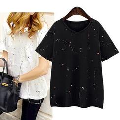VIZZI - Paint Splattered Short-Sleeve T-Shirt