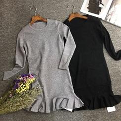 Milletto - 荷葉擺針織連衣裙