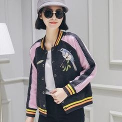 LRZ - Embroidered Panel Baseball Jacket