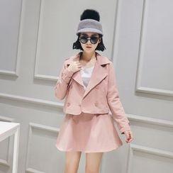 LRZ - 套装: 双排扣西装外套 + 裙子