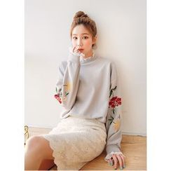 J-ANN - Layered-Edge Flower Embroidered Sweatshirt