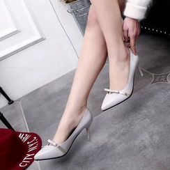 MANMANNI - Pointy-Toe Bow-Accent Kitten-Heel Pumps
