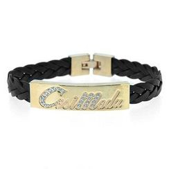 COSI MODA - Steel / Leather Bracelet with Cubic Zirconia
