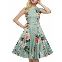 Forest Of Darama - Floral Print Midi A-Line Dress