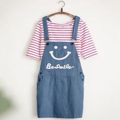 11.STREET - Smiley Face Denim Pinafore