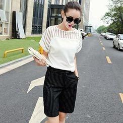 Romantica - Set: Striped-Panel Top + Striped Shorts