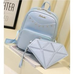 Merlain - Set: Faux Leather Backpack + Diamond Clutch
