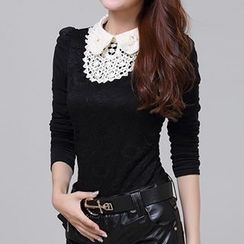 Emeline - Long-Sleeve Lace Collar Blouse