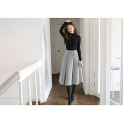 Hello sweety - Set: Crew-Neck Rib-Knit Top + Stripe A-Line Skirt