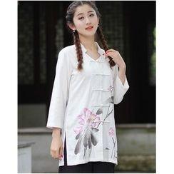 Venesia - Floral Print 3/4 Sleeve Long Cheongsam Top