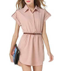LIVA GIRL - Plain Short-Sleeve Shirtdress