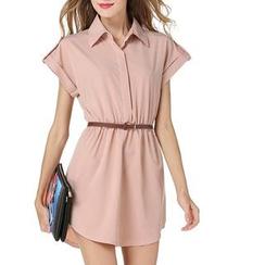 LIVA GIRL - 纯色短袖衬衫裙