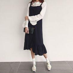 NIPONJJUYA - Button-Down Ruffle-Hem Jumper Dress
