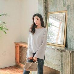 Seoul Fashion - Boat-Neck Ruffle-Cuff T-Shirt
