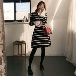 Seoul Fashion - Stripe Wool Blend Knit A-Line Dress