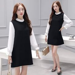 Runway Queen - Mock Two-Piece Mandarin Collar Shift Dress