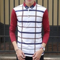 Fesso - Color-Block Plaid Polo Shirt