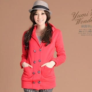 YUMI - Double-Breasted Hooded Coat With Sash