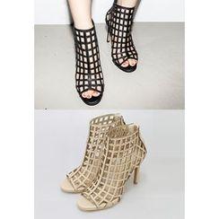 INSTYLEFIT - Perforated High-Heel Booties