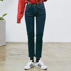 chuu - Fray-Hem Straight-Cut Jeans