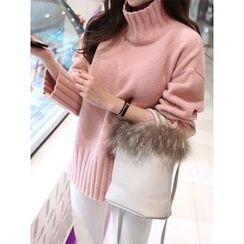 hellopeco - Drop-Shoulder Slit-Side Knit Top