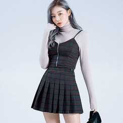 chuu - Plaid A-Line Mini Pleat Skirt