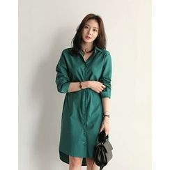UPTOWNHOLIC - Drawstring-Waist Cotton Shirtdress (2 Designs)