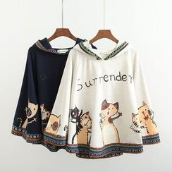 Musume - Hooded Print Cape Top