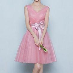 名貴風格 - 泡泡中袖禮服裙