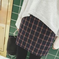 mimi&didi - Zip-Side Checked Mini Skirt