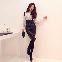 DABAGIRL - Faux-Leather Suspender Skirt