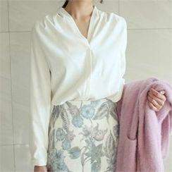 YOOM - V-Neck Brushed Fleece Top