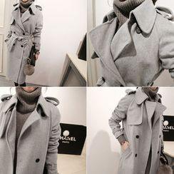 NANING9 - Epaulette-Shoulder Wool Blend Trench Coat