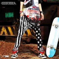 Cooreena - Striped Star-Print Harem Pants