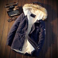 LIBIN - Fleece Lined Hooded Long Zip Jacket