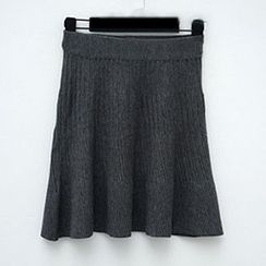 Polaris - Ribbed A Line Knit Skirt