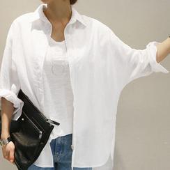 NANING9 - Linen Dolman-Sleeve Shirt