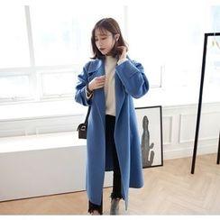 Miamasvin - Wide-Collar Wool Blend Handmade Coat
