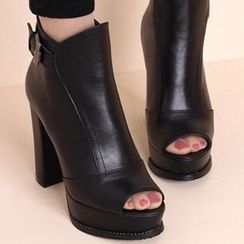 Forkix Boots - 饰扣露趾厚底高跟短靴