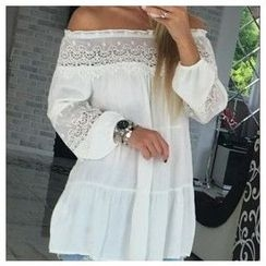 Charlotte - Off-Shoulder Lace-Panel Top