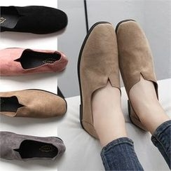 Reneve - Square-Toe Faux-Suede Slip-Ons
