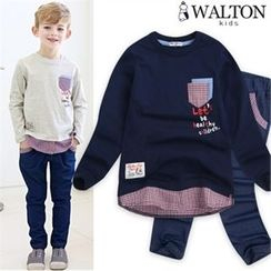 WALTON kids - Boys Set: Plaid-Hem Top + Band-Waist Jeans