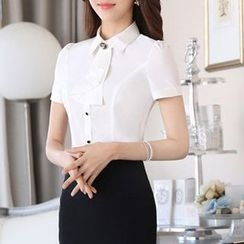 Caroe - Short-Sleeve Frilled Neck Shirt