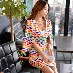 Dabuwawa - Cape-Sleeve Printed A-Line Dress