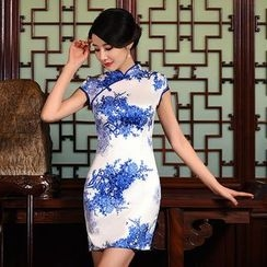 Montebelle - 青花瓷印花盖袖旗袍
