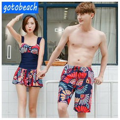 Sunset Hours - Matching Couple Print Swimdress / Men Swim Shorts