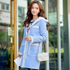 Dabuwawa - Fleece-Lined Paneled Hooded Check Coat