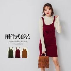PUFII - 小高領針織上衣+吊帶裙兩件式套裝